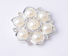 Free Shipping Rhinestone Embellishment Button Without Loop 30mm 20pcs/lot Flat Back Silver Color
