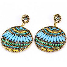 Bohemian National Wind Flower Earrings Clip On The Earrings Wholesale Cheap Colorful Resin Beads Earrings For Women Costume Gift(China)