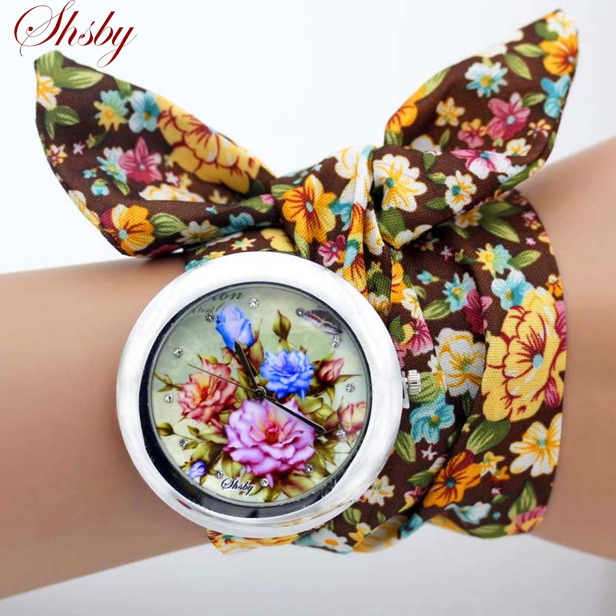 shsby design  Ladies flower cloth wristwatch fashion women dress watch high quality fabric watch sweet girls Bracelet  watch(China)