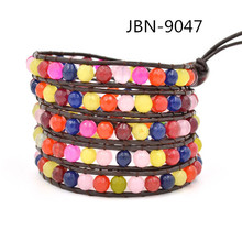 news Wholesale or Retail Multilayer Bracelet Brown leather stainless steel for girl 6mm mix stone beads JBN-9047(China)
