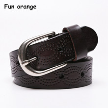 Fun Orange Female Genuine Leather Belt Retro Vintage Belts for Women Needle Buckle Belt for Jeans(China)