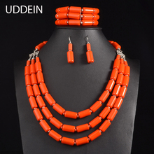 UDDEIN Nigerian Wedding Indian Jewelry Sets Beads Necklace Earring Bracelet Sets Statement Collar African Beads Jewelry Set(China)