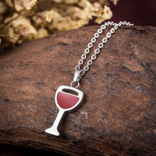 WAWFROK 2017 Fashion Women Red Wine Glass Necklace Pendant Stainless Steel Hook Necklace Unique Design Jewelry(China)
