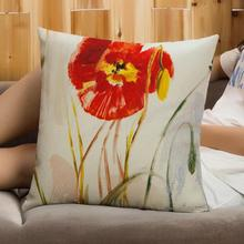 American Style Pastoral Painting Plant Flowers Decorative Soft Short Plush Throw Pillow Home Sofa Seat Vintage Cushion