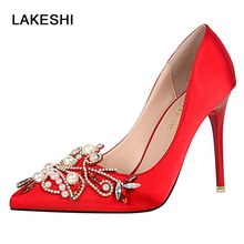 String Bead Wedding Shoes Woman Red Bottom High Heels 2017 Party Shoes For Women New Fashion Pointed Toe Super High Heels(China)