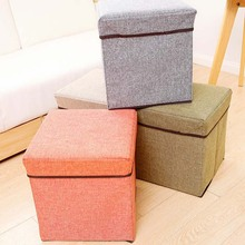 New Arrival Folding Storage Foot Stool Seat Modern Flax Footrest Foldable Storage Home Furniture Storage Box Livingroom Tools