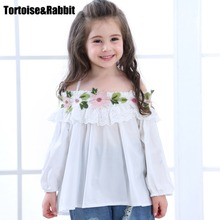 Summer Cotton Blouses Little Girls Shirts Off Shoulder White Shirts Kids Top Children Clothes Toddler Clothing For Party Blouse(China)