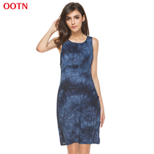 OOTN LYQ121 O-neck sleeveless fashion tie dye dress women mini party dresses female casual clothing 2017 summer female dress