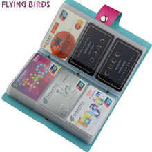 FLYING BIRDS!double Hasp women&men card bags name ID Business Card Holder High Quality Leather 96 Bank credit Card Case LS4061fb(China)