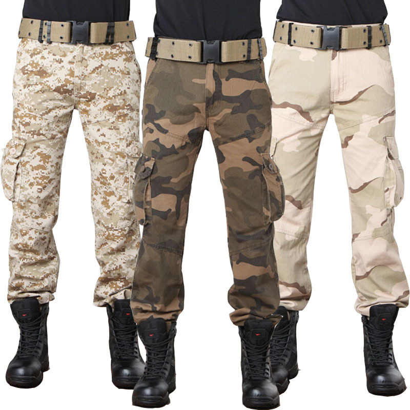 Multi Pocket Baggy Urban Combat Camouflage Military Style Cargo Pants Men Camo Tactical Trousers Digital Desert Army Green Color