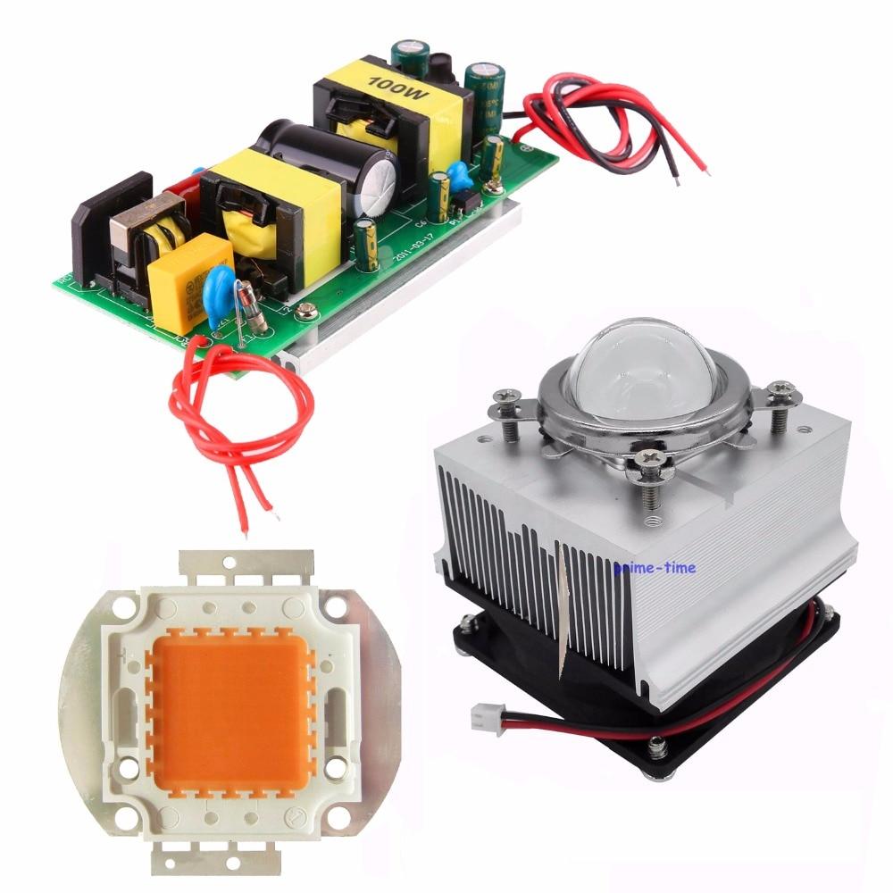 100W Plant Grow LED Light 380-840nm Full Spectrum+Constant Current LED Driver+Heat sink fans+ 44mm lens kits<br><br>Aliexpress