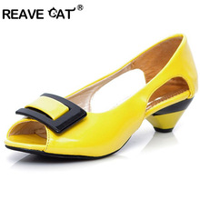 REAVE CAT Plus size 31-43 Small Wedge Peep toe Multi color Summer Women sandals Flower Patent Open toe Cone heels Casual Flats(China)