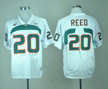 Nike Miami Hurricanes Ed Reed 20 White College Jersey Ice Hockey Jerseys M,L,XL,XXL,3XL