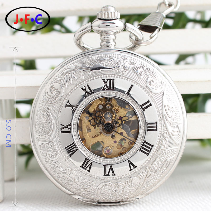 Genuine semi automatic large silver hollow carved antique retro double pocket watch pocket watch high-grade mechanical male B069<br><br>Aliexpress