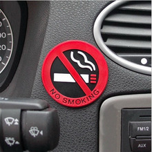 3pc Rubber NO SMOKING Sign Tips Warning Logo Stickers Car Taxi Door Decal Badge Glue Sticker Promotion(China)