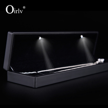 Oirlv free shipping luxury black color lacquered jewellery box with velvet insert for long chain bangle holder counter showcase