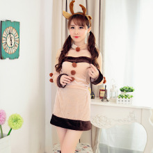 Christmas Game Play Costume Female Santa Claus Reindeer Cosplay Costume Exotic Cosplay Disfraces Pleuche Hot Sale S49CK10