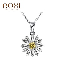 ROXI New Romantci Necklace Silver Color Passionate Sunflower Pendant Yellow Zircon Women Daisy Necklace Girls Fashion Jewelry