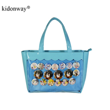 KIDONWAY Ita Bag Blue PVC Transparent Women Casual Totes Top-Handle Handbags Large Capacity Shoulder Bags for Teenage Girls 1089