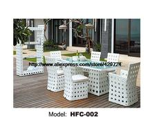 Modern White Rattan Table Chair Set 6 Piece Furniture Suite Outdoor Rattan Garden Beach Wicker Furniture Chair Table Set HFC002