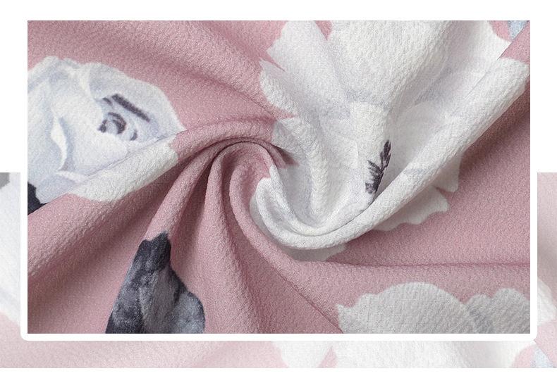 2018 Women Pants Beach Floral Print High Waist Plus Size Loose Chiffon Casual Wide Leg Pants Pink Split Sexy Women Trousers Sale 3