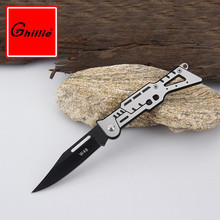 New Grey / Black Mini Portable Survival Knife Fold Camping Tactical Folding Pocket Knives Hunting Ring Edc Outdoor Tools(China)