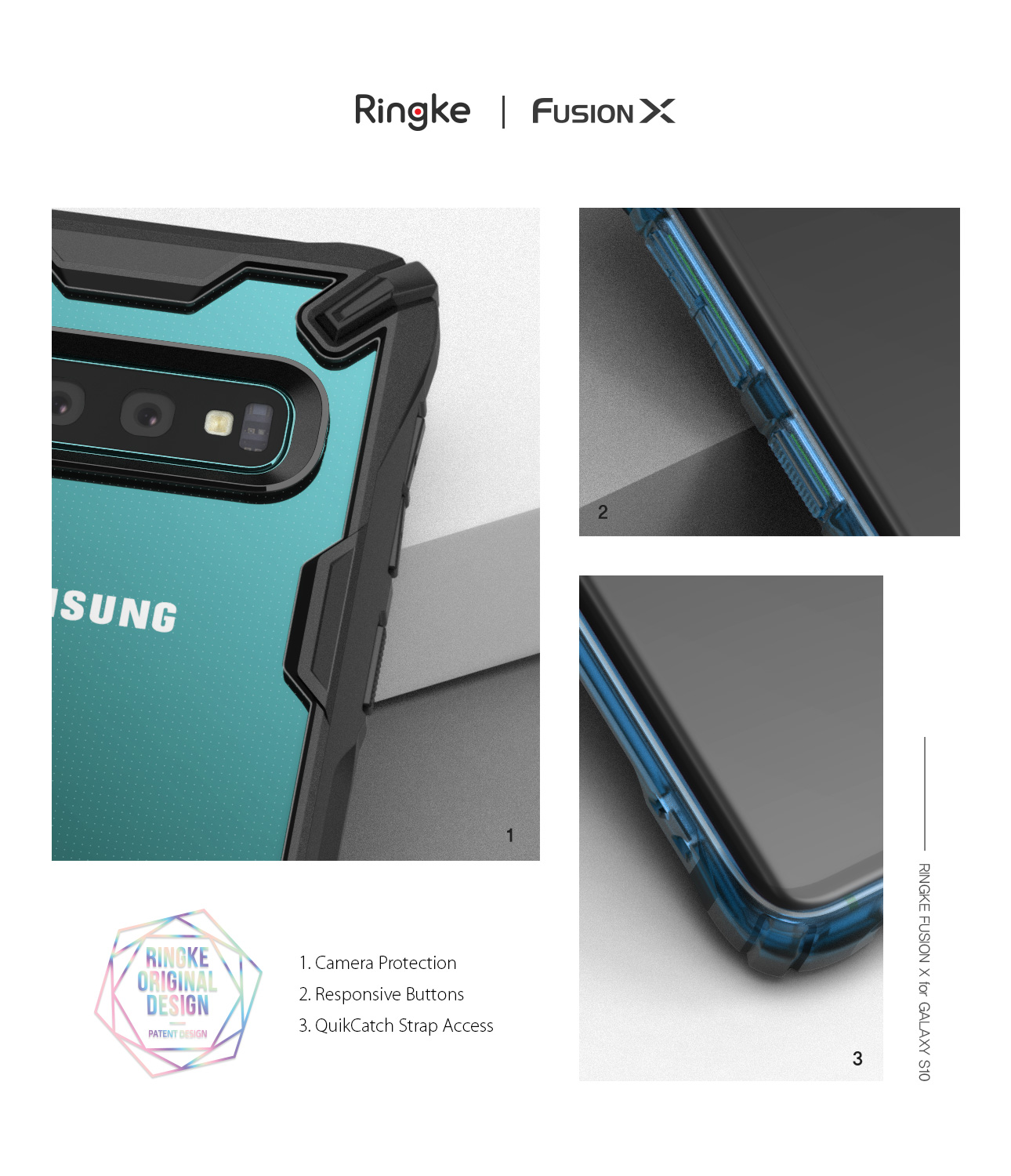 rearth ringke fusion samsung galaxy s10 plus case - clear