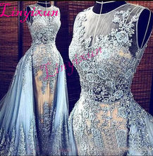 Light Blue New Evening dresses 2018 Detachable Sweep Train Transparent Formal  Dresses Party Pageant Gowns Long Prom Dresses a3a5188bffbd