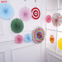 6Pcs Fashion Paper fan flower set of ornamentsl Round DIY Craft Hanging Small Flower Wedding Party Decoration supplies 5Z(China)