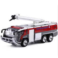 1 pcs New alloy car airport fire truck model children toy car engineering car sound and light toys birthday gifts