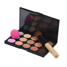 Add fresh color to your face 15 Colors Makeup Concealer Contour Palette + Water Sponge Puff + Makeup Brush Anne(China)
