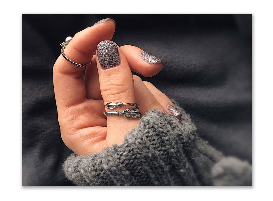 925 Sterling Silver Cupid Ring Model in hands