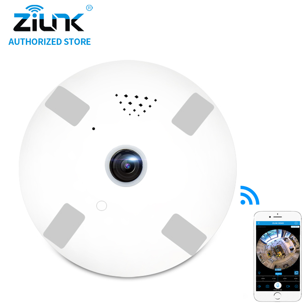 ZILNK 1080P HD 2MP Fisheye 360 Degree Panoramic Camera IP Two Way Audio White Led SD Card Smart Home Security CCTV VR Cam White<br>