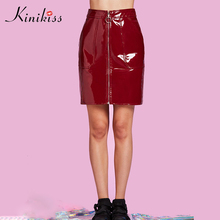 Kinikiss women mini pu skirt 11.11 global shopping festival empire zipper pocket sexy bodycon solid red 2017 new fall skirts(China)