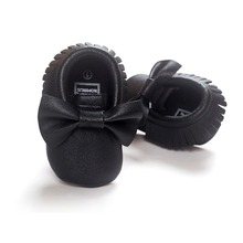 NEW Styles Baby Soft PU Leather Tassel Moccasins Girls Bow Moccs First walkers Shoes Moccasin Black bow design baby shoes