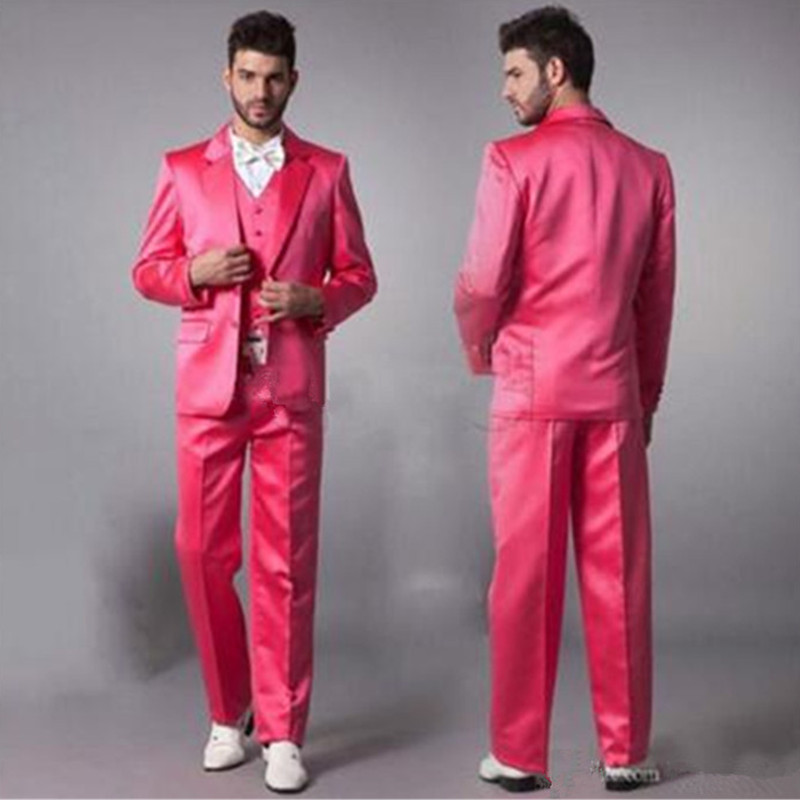 new mens designer suits Custom made Hot Pink new 2018 Groom Tuxedos Groomsmen Man Suit Wedding suits