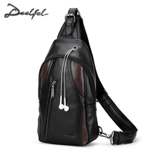 DEELFEL Men Leather Chest Crossbody Bag Casual Men Messenger Bags Top Quality Women Waist Pack New Designer Male Shoulder Bag(China)