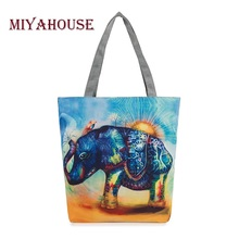 Elephant Printed Canvas Tote Women Casual Beach Bags Daily Use Female Single Shoulder Bags For Shopping Casual Canvas Handbags(China)