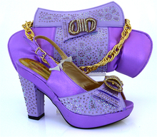 Ialian women's shoes and bag set new design Lilac color popular in African shoes and bag set size 7.5-10.5US