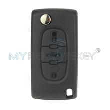 Flip remote car key shell cover 3 button middle trunk for Peugeot 207 307 407 408 Citroen C2 C3 C4 C5 CE0536 HU83 VA2  remtekey