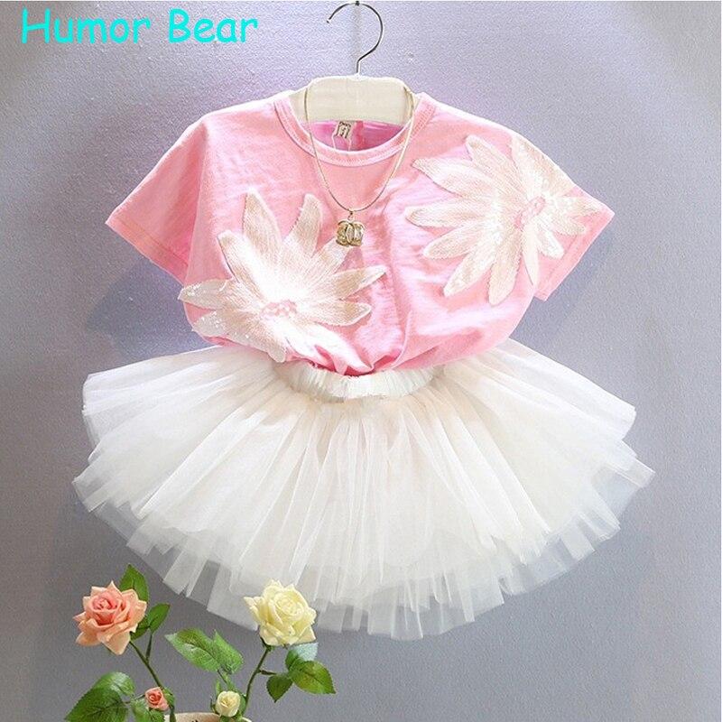 Humor Bear Baby Girl Clothes Set Girls Clothing Sets T-Shirts+Net Veil Dress kids set girls suits<br><br>Aliexpress