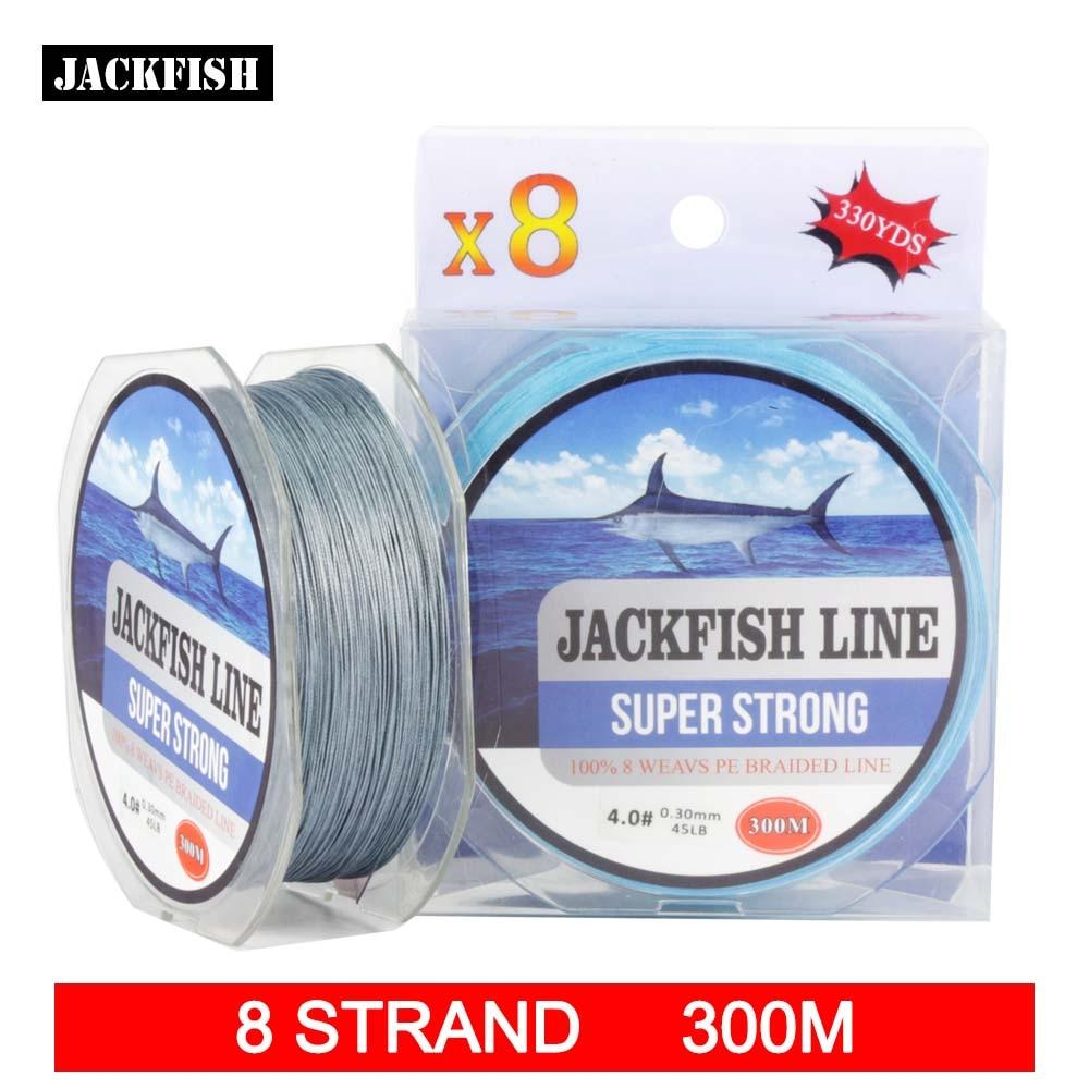 JACKFISH 300M 8 strand super strong PE Braided Fishing Line 10-80LB Multifilament Fishing Line Carp Fishing Saltwater<br><br>Aliexpress