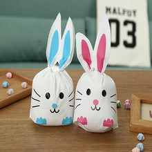 2017 hot sale 10pcs /lot cat style Cute Bunny Cookies Bags Rabbit Ear Plastic Candy Bag Box Gift 22*13.5cm 2 colors(China)