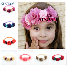 3pcs/lot Trendy Stylish Girl Headbands With Burlap Rose Flowers Newborn Floral Crown Photo Prop U Pick Color FD214(China)