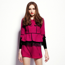 2015 Autumn brand fashion Women Woolen Suit Popular Lace Ruffle Long Sleeve Top + Short Pants Sets Rose two-piece suit OM299(China)