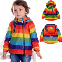 2017NEW Rainbow Children Jacket Spring Autumn  Windbreaker Kid Coat  Girl boy Clothing Windcoat Polar Fleece inside 1-7years old
