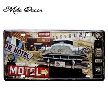 [ Mike86 ] Motel Route 66 Vintage Classic painting decor Retro Gift Craft Metal sign Bar decoration D-529 Mix order 30*15 CM(China)