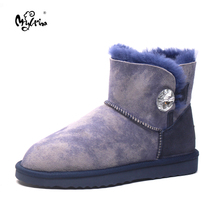 Hot Sale High Quality Women 100% Genuine sheepskin Snow Boots Natural Fur Women boots Warm Winter Ankle Shoes(China)