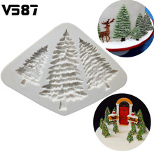 Silicone Christmas Tree Cake Fondant Mold Chocolate Cookies Mould Home Kitchen DIY Cake Baking Decorating Tools Bakeware(China)