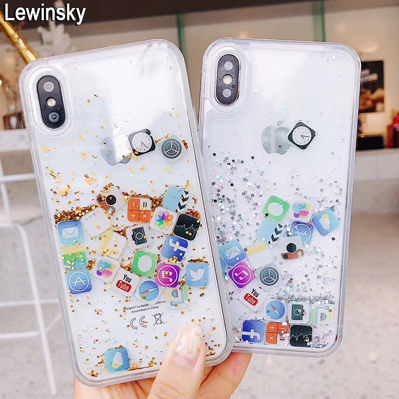 Lewinsky Cute Amusing Mobile apps Icon pattern phone Case cover For iphone X 6 6s Plus 7 8 plus Glitter Liquid Quicksand Cases (6)